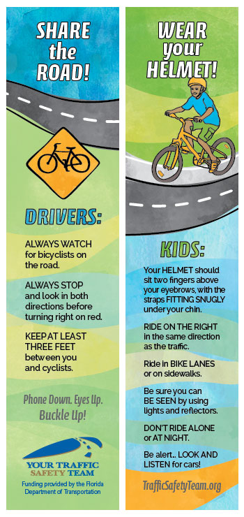 Bookmark - Bicycle Safety Message