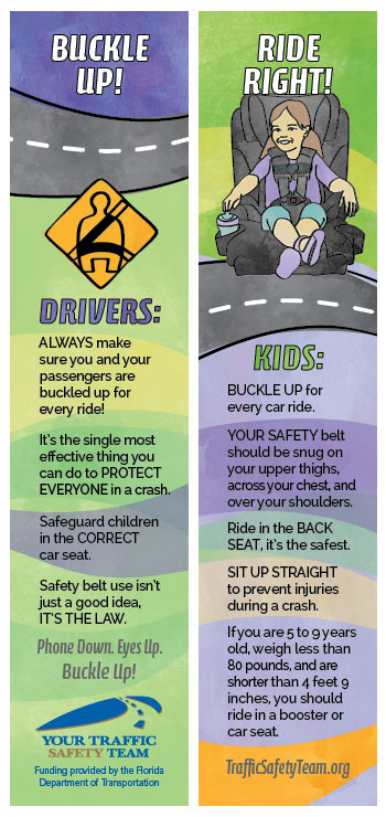 Bookmark - Occupant Protection Safety Message
