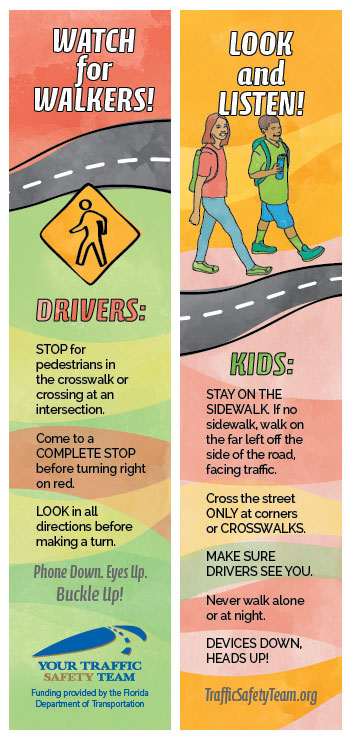Bookmark - Pedestrian Safety Message