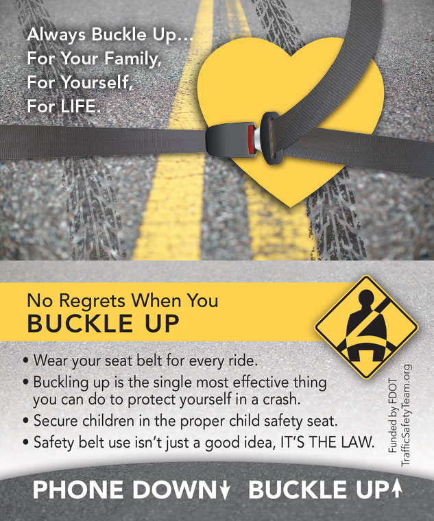 Buckle Up Heart Traffic Safety Tip Card