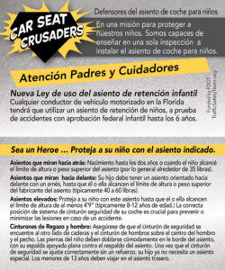 Child Passenger Safety guidelines in Spanish