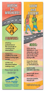 Safety Bookmark - Pedestrian Safety Message