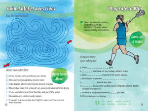 Activity Book - Pre Teens Pages - Sport Safety Message